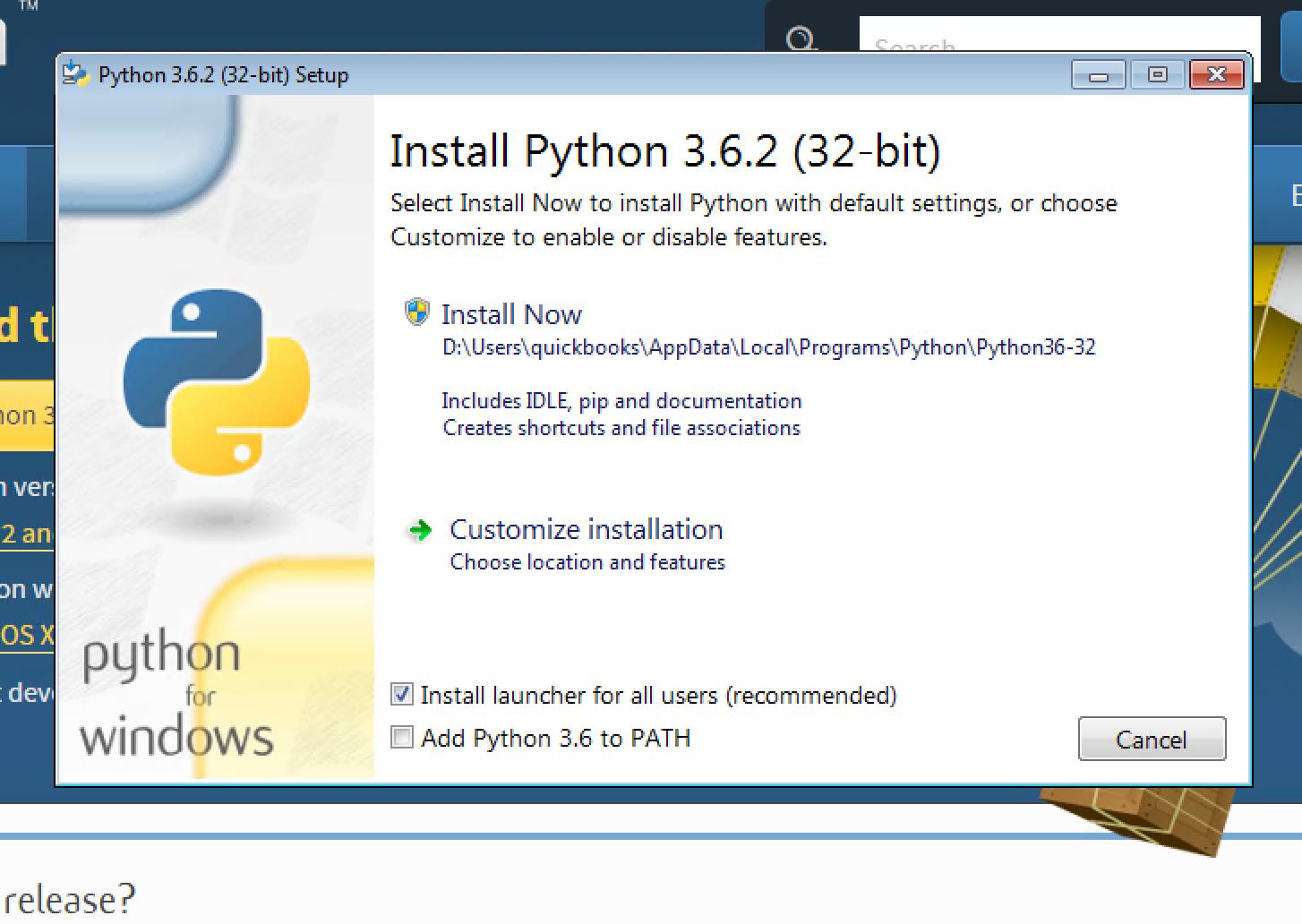Install Python on Windows 3 6 2
